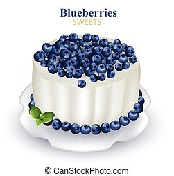Blueberries cake Realistic Vector illustration on white backgrounds