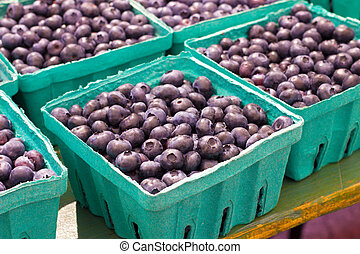 Blueberries - Cartons of fresh blueberries at farmers market