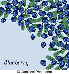 blueberries., desenho, fundo, natureza