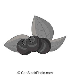 Blueberries icon, gray monochrome style