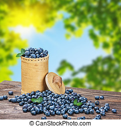 Blueberries in a basket is scattered