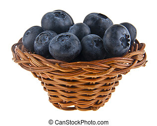 Blueberries in a basket isolated on white background.