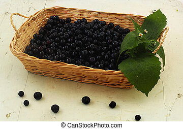 blueberries in a basket on white table