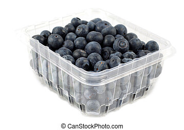 Blueberries in a box isolated