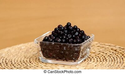 Blueberries in a glass bowl