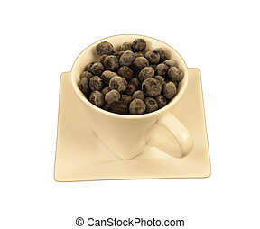 Blueberries in a square cup - Ripe blueberries in a cream...