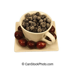 Blueberries in a square cup with ch - Ripe Blue Berries in a...