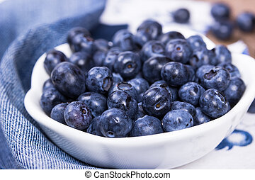 Blueberries in a white ceramic bowl - Blueberries in a white...