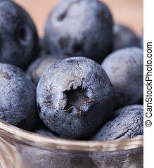 blueberries, ind, en, glas