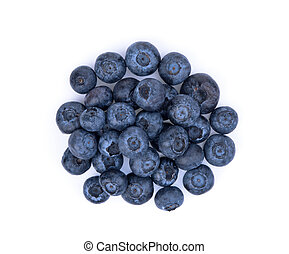 blueberries isolated on white background, top view, flat lay