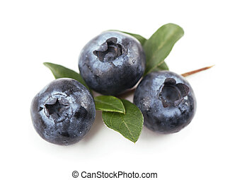 blueberries,. Isolated white - Group of blueberries....