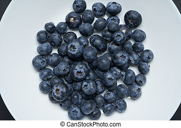 Blueberries on a white disc with black background