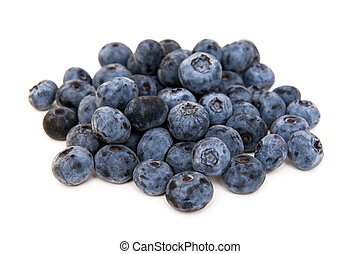 Blueberries on the white background