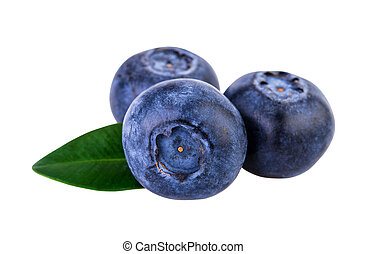 Blueberries three on white with clipping path