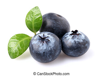 Blueberries with leaves on a white background