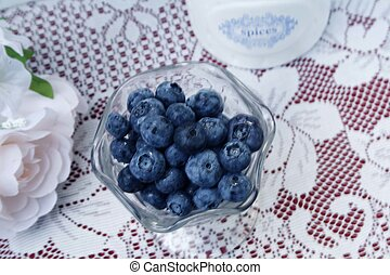 Blueberries with spice bowl