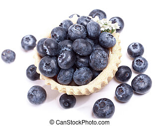 Blueberry and blueberries in a waffle basket