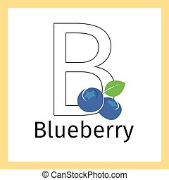 Blueberry and letter B coloring page