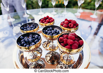 blueberry and raspberry in dessert cup