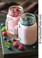 Blueberry and raspberry smoothies