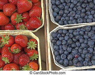 blueberry and strawberry at a street sale