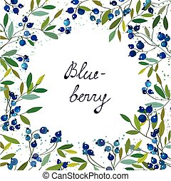 Blueberry background for the label or card, handdrawn...