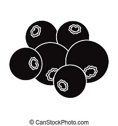 Blueberry berries, sweet fruit. Fruit single icon in black style vector symbol stock illustration web.