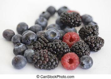 Blueberry, blackberry and raspberry