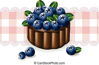 Blueberry cake on a vintage pattern. Vector delicious illustration