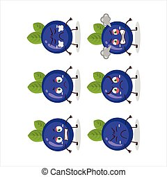 Blueberry cartoon character with various angry expressions....