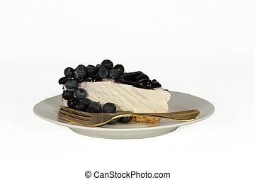 Blueberry cheesecake isolated