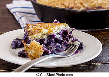 Blueberry Cobbler Baked in Cast Iron Skillet - Close up of ...