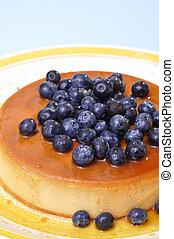 Blueberry flan - Vertical shot of delicious flan cheesecake...
