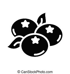 blueberry glyph flat vector icon
