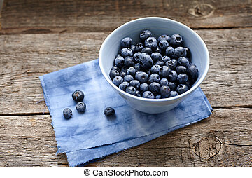 blueberry - Great bilberry in a blue ceramic bowl