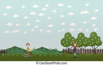 Blueberry hunting season concept vector flat illustration