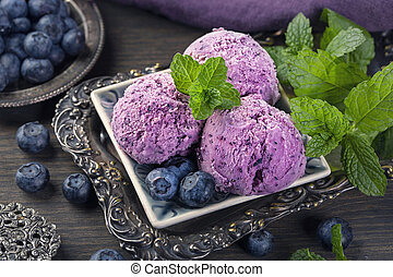 Homemade blueberry ice cream with fresh mint