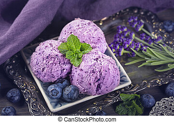 Homemade blueberry lavender ice cream.
