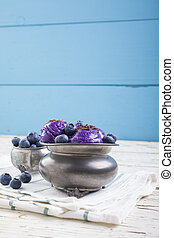 Blueberry ice cream on pewter cup - Fresh blueberry ice...
