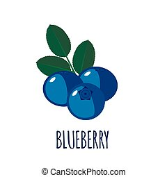 Blueberry icon in flat style on white background