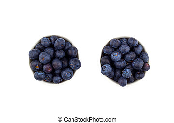 Blueberry in a bowl on white background