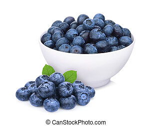 blueberry in the white bowl isolated on white background