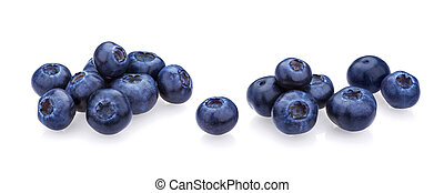 Blueberry isolated on white background. A pile of fresh blueberries, close-up, collection