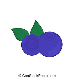 Blueberry isolated on white background. Vector illustration.