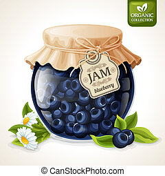 Natural organic homemade forest blueberry jam in glass with tag and paper cover vector illustration