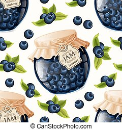 Blueberry jam seamless pattern - Natural organic blueberry...