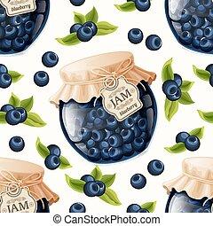 Blueberry jam seamless pattern - Natural organic blueberry...