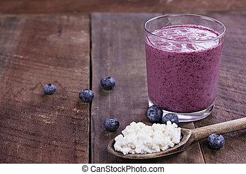 blueberry, kefir, smoothie, 와..., kefir, 곡물