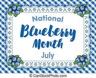 National Blueberry Month, celebrated each July in USA, juicy berries isolated on white eyelet lace doily place mat on blue gingham check background.
