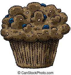 Blueberry Muffin - A cartoon, blueberry bran muffin.